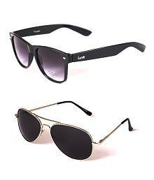 Elligator Black Wayfarer And Silver Aviator Sunglasses Combo