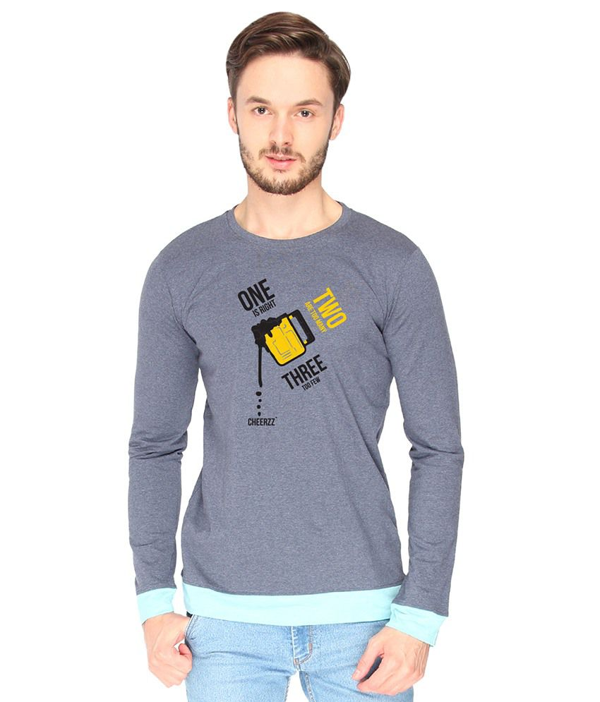Campus Sutra Cotton Blue One Two Three Printed T-shirt