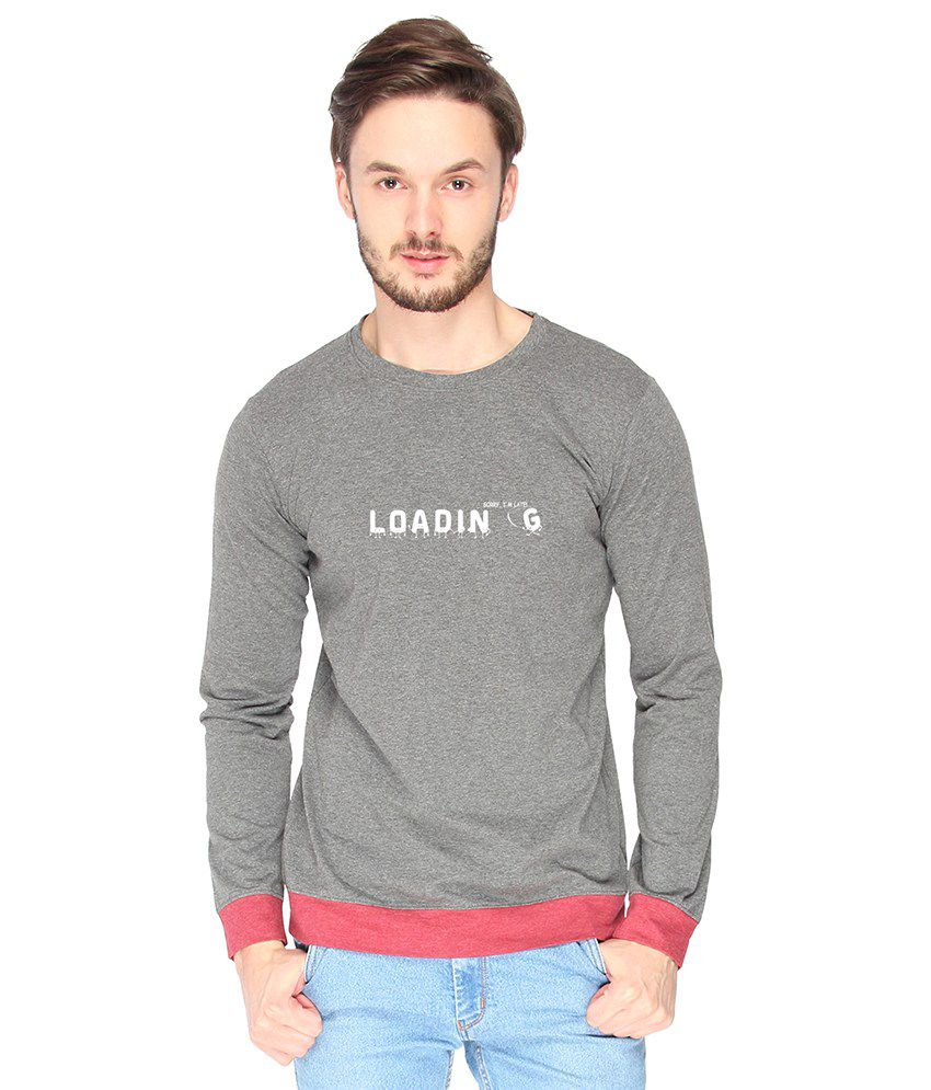 Campus Sutra Cotton Gray Loading Printed T-shirt