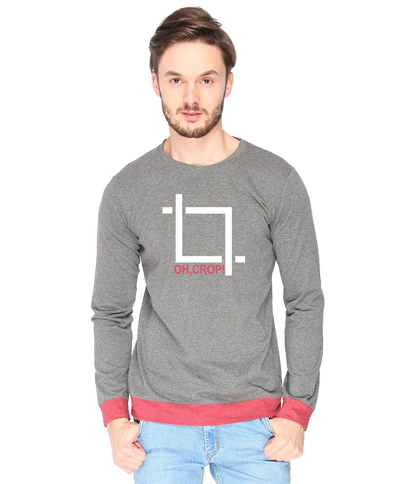 Campus Sutra Cotton Gray Oh Crop Printed T-shirt