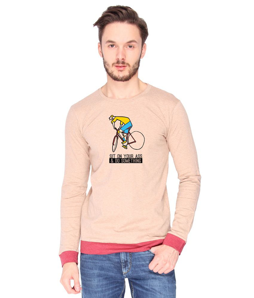 Campus Sutra Cotton PeachPuff Sit On Your Ass Printed T-shirt