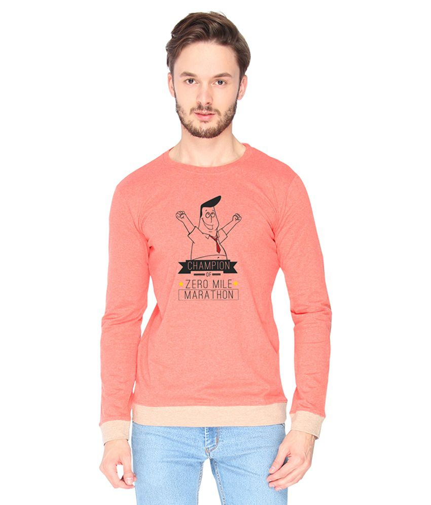 Campus Sutra Cotton Pink Champion Of Zero Mile Printed T-shirt