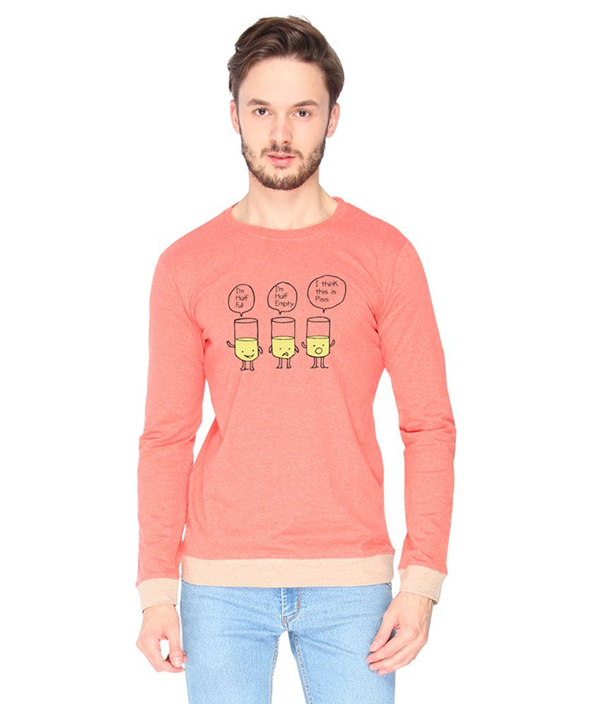 Campus Sutra Cotton Pink Half Glass Of Piss Printed T-shirt