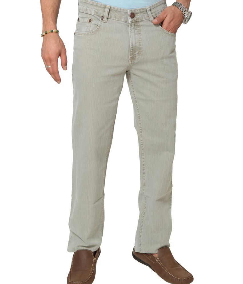 Klix Jeans Beige Cotton Straight Fit Jeans