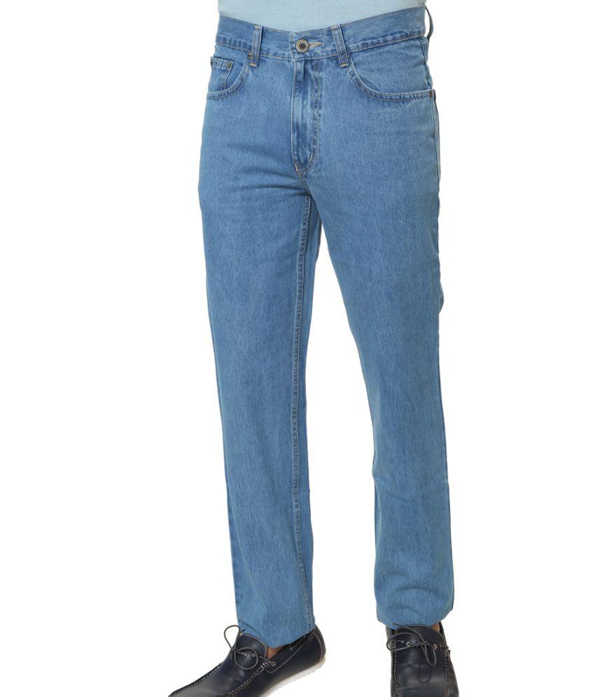 Klix Jeans Blue Cotton Straight Fit Jeans