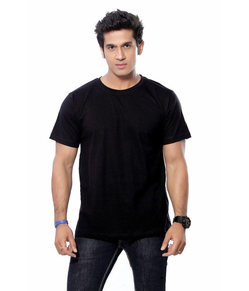 Round neck half sleeve cotton t shirt for men bio blk for Half sleeve t shirts for men