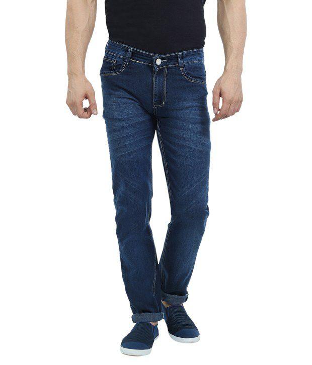 Sloper Navy Cotton Blend Slim Fit Jeans for Men