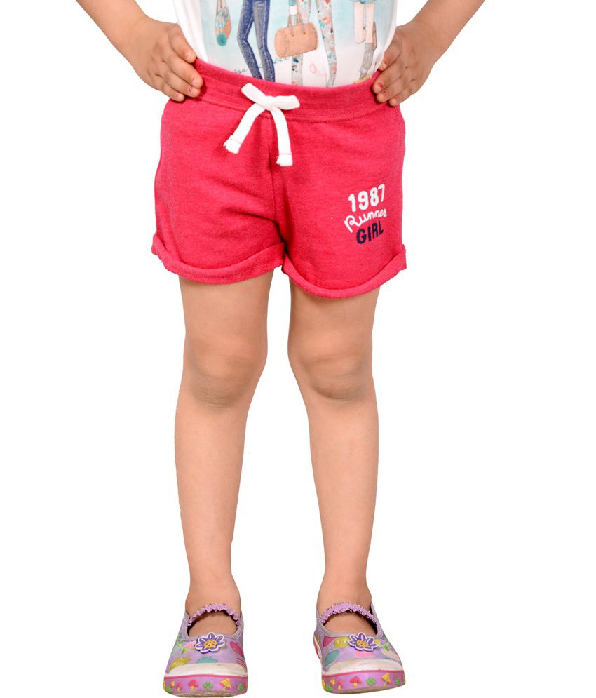 Tiny Toon Pink Cotton Elastic Shorts For Girls