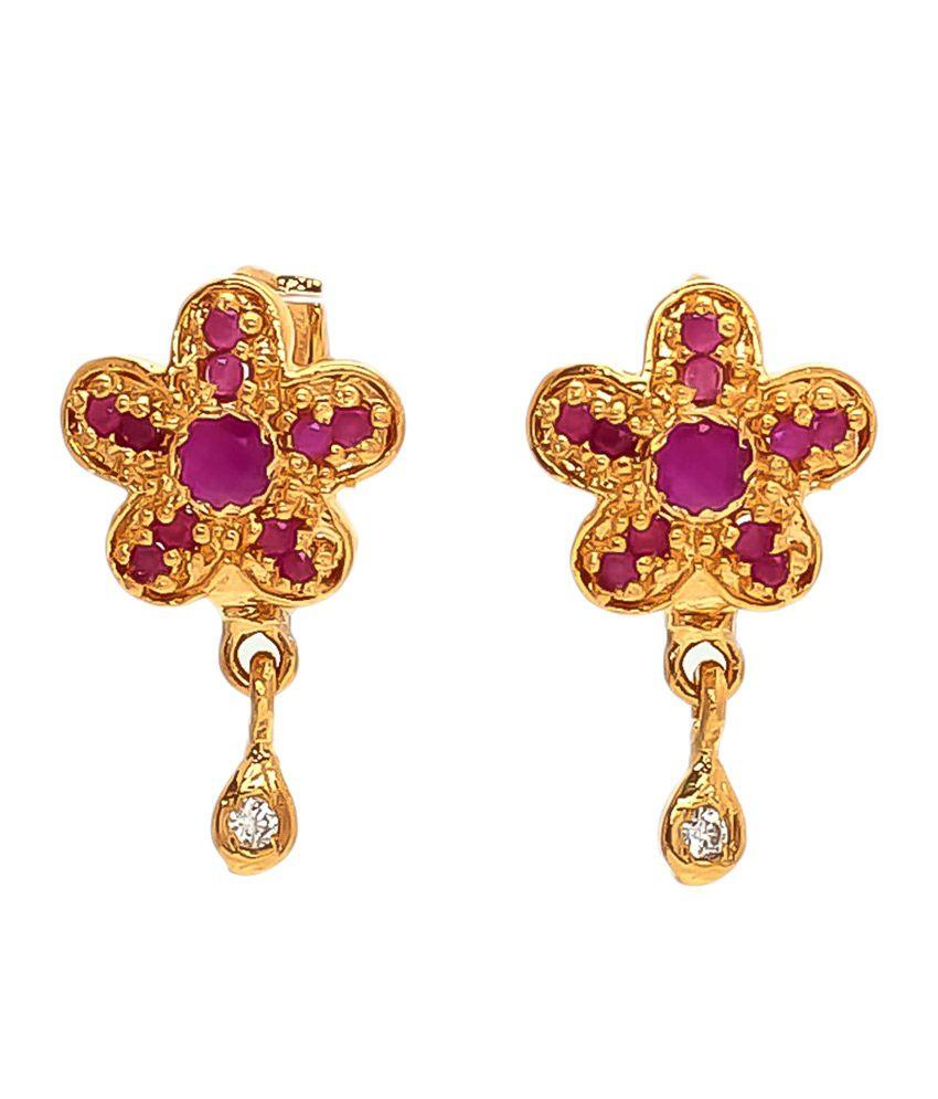 Be You Red American Diamond Earrings