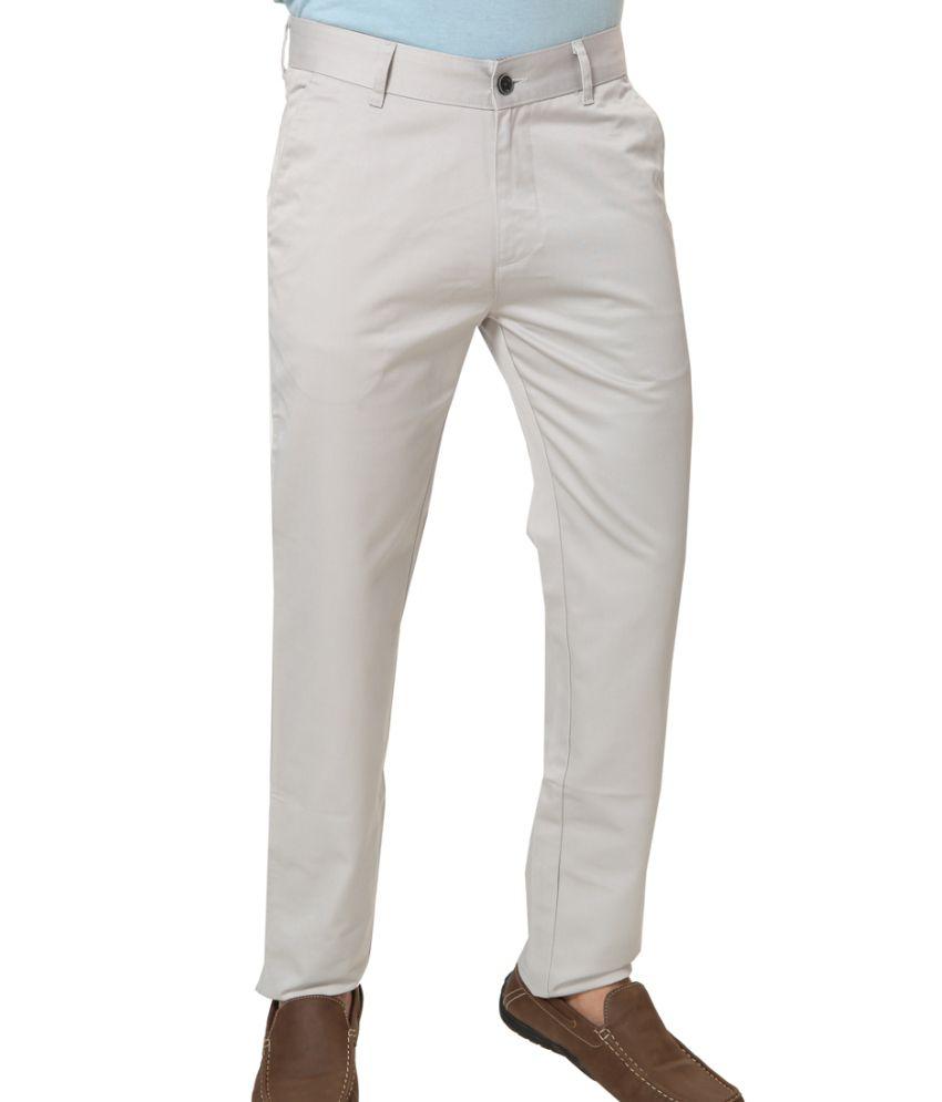 Klix Jeans Gray Cotton Regular Fit Chinos
