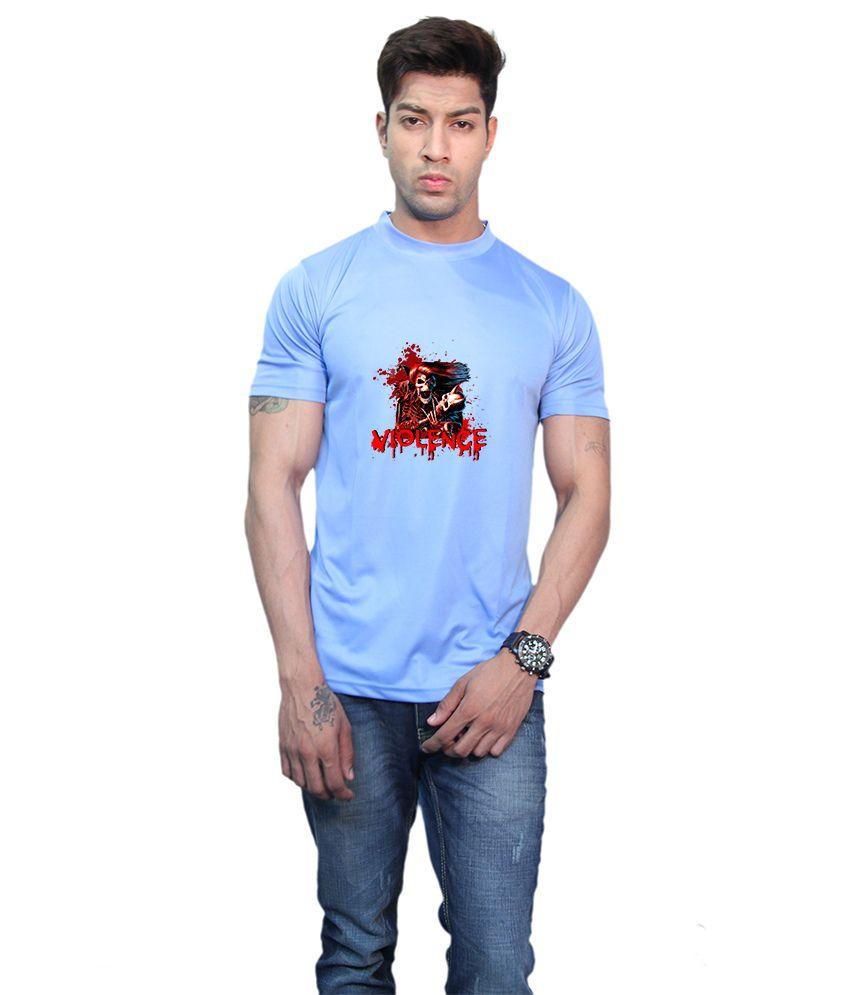 Printland Blue Polyester Round Neck Half Printed T-Shirt