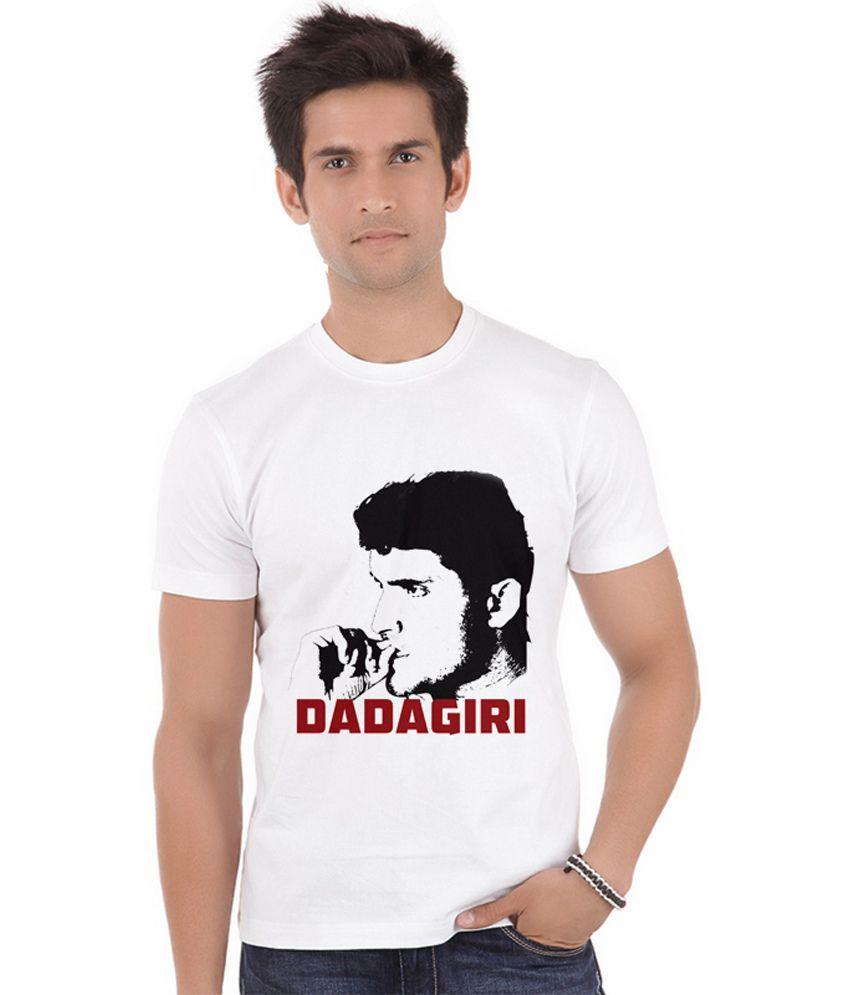 Shopmantra White Polyester Ganguly Dadagiri T-shirt