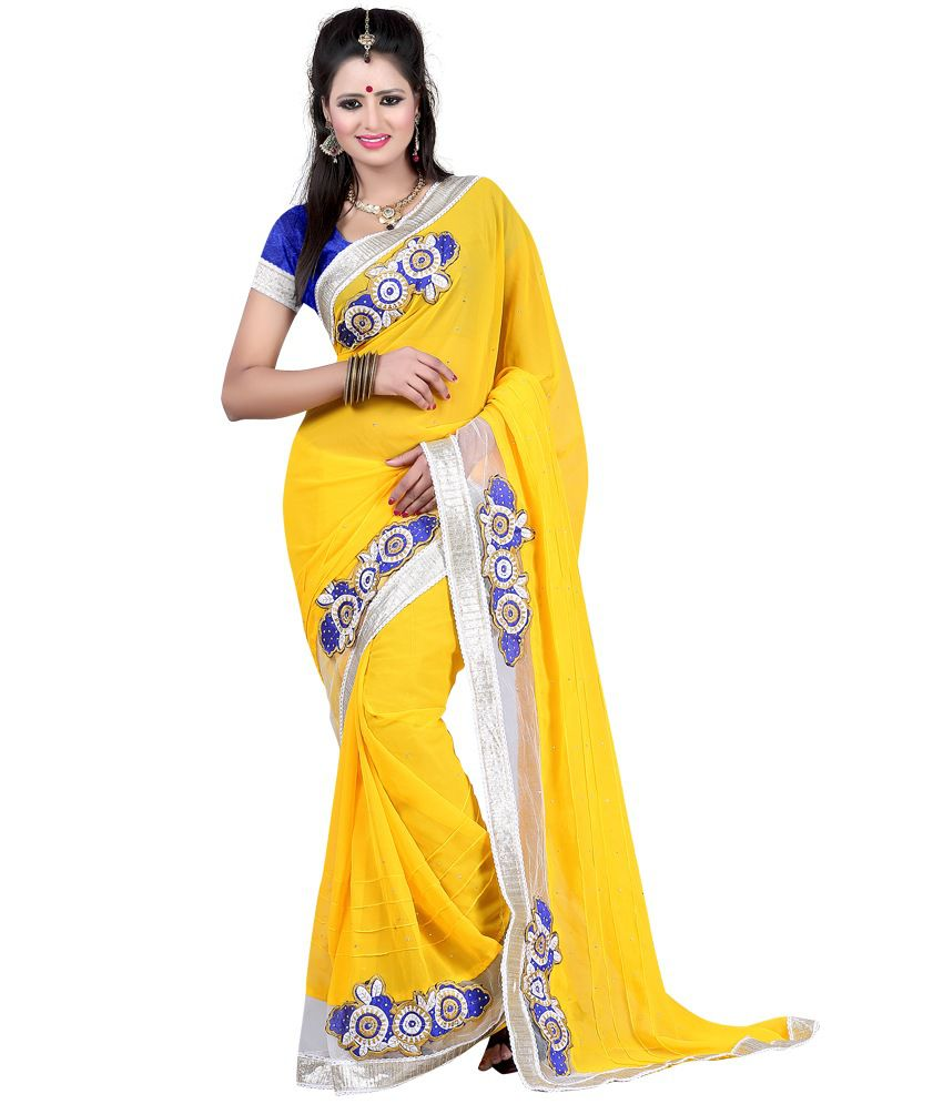 JK BROTHERS Yellow Faux Georgette Saree