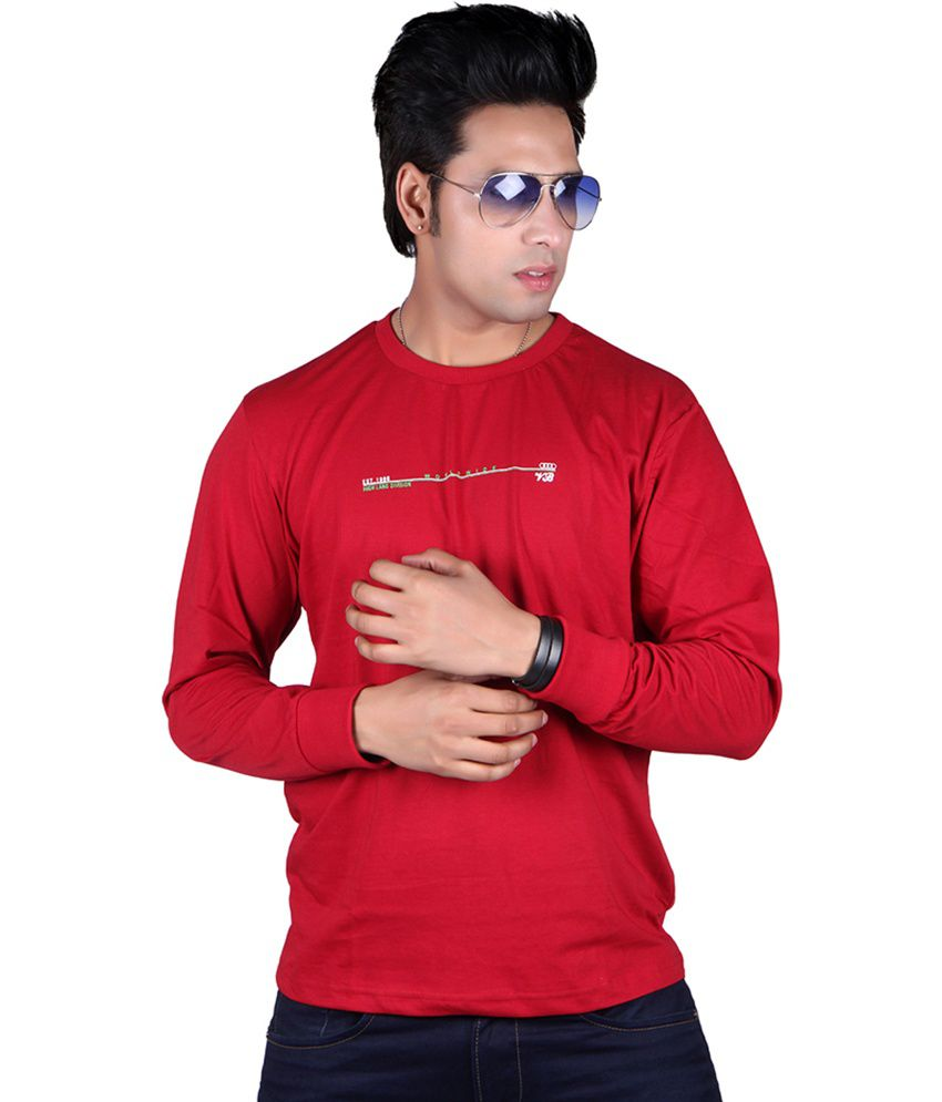 Vivid Bharti Red Cotton Round Neck Printed T-shirt