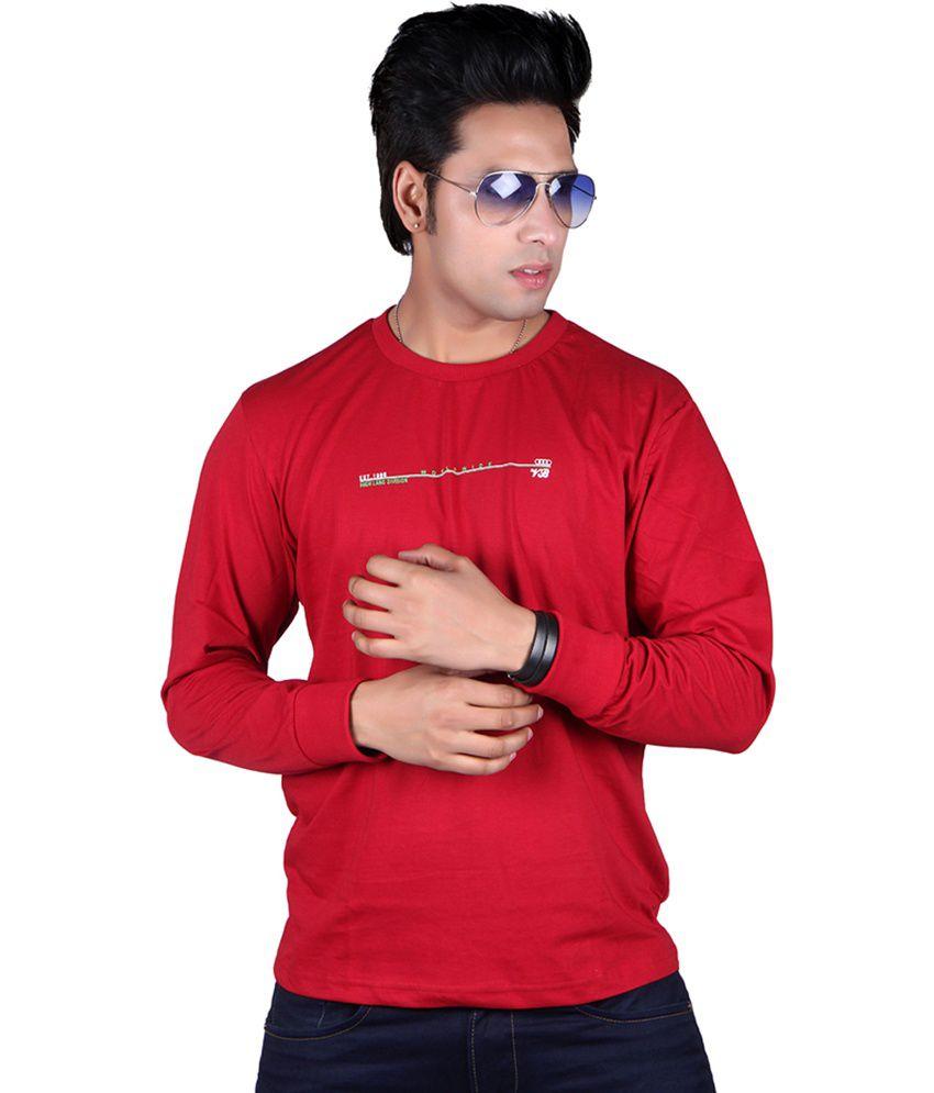 Vivid Bharti Red Cotton Round Neck Printed T-shirt