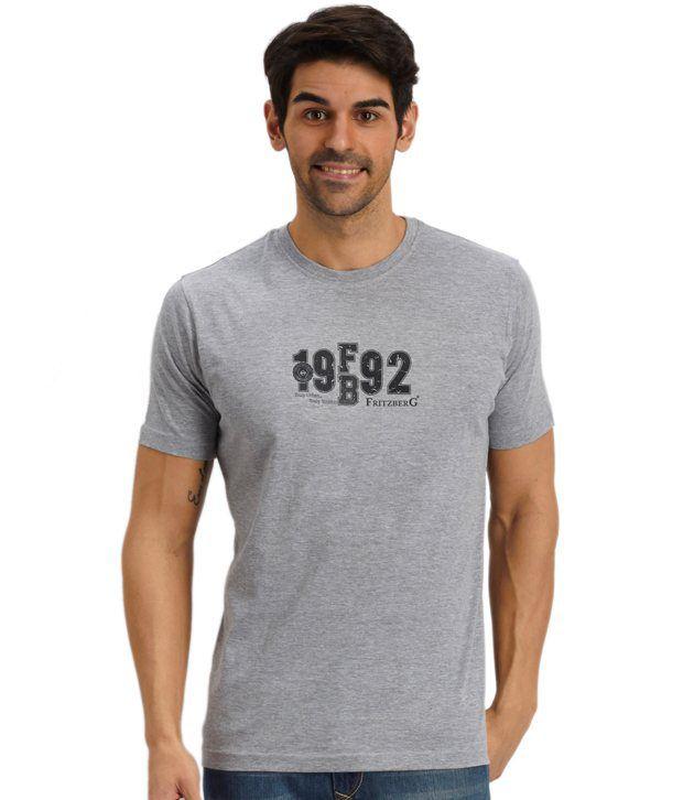 Fritzberg Gray Cotton Printed T Shirt