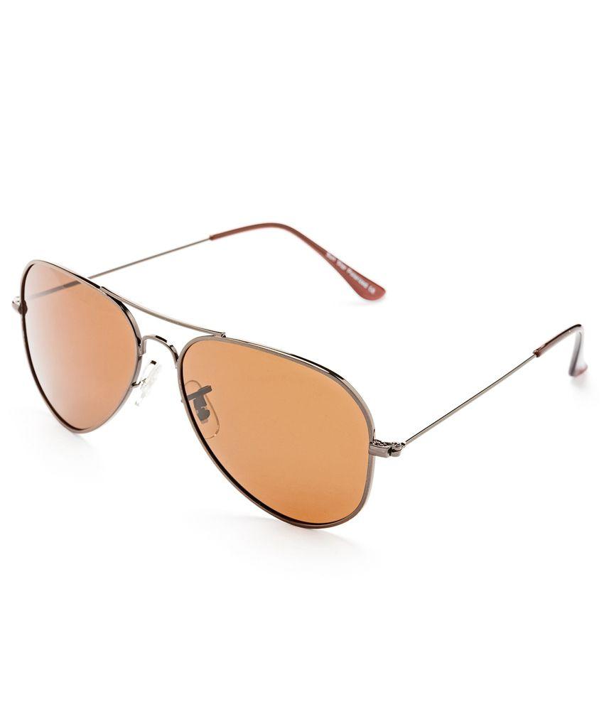 Hrinkar Brown Metal Aviator Sunglasses
