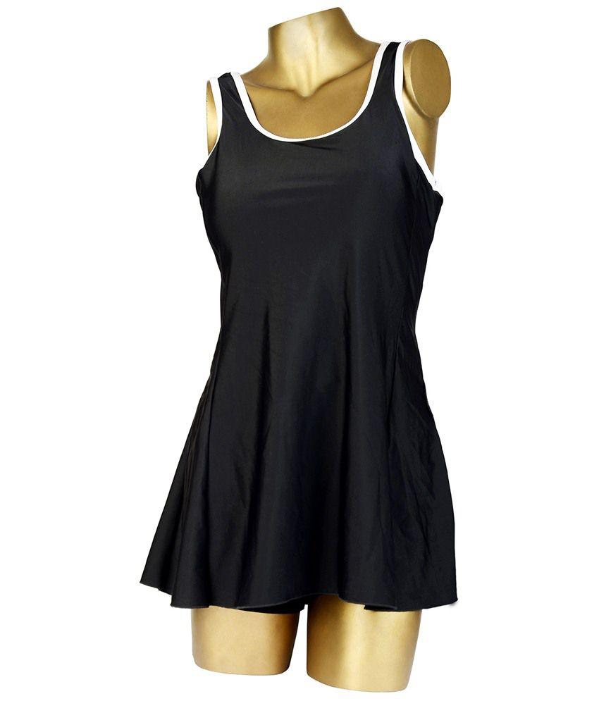 Indraprastha Attractive Black Plain Swimsuit/ Swimming Costume
