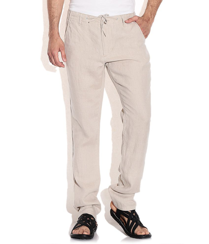 Jack & Jones Beige Cotton Casuals Trouser