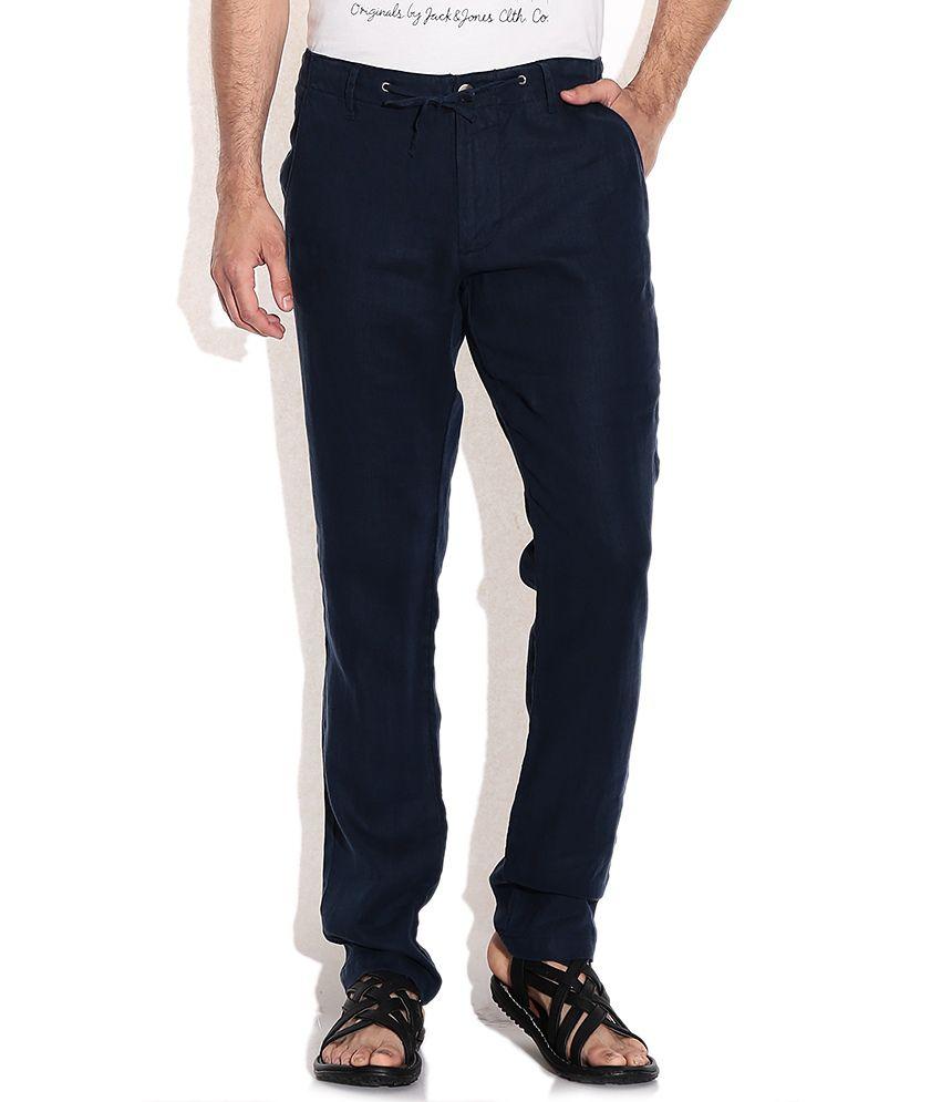 Jack & Jones Blue Cotton Casuals Trouser