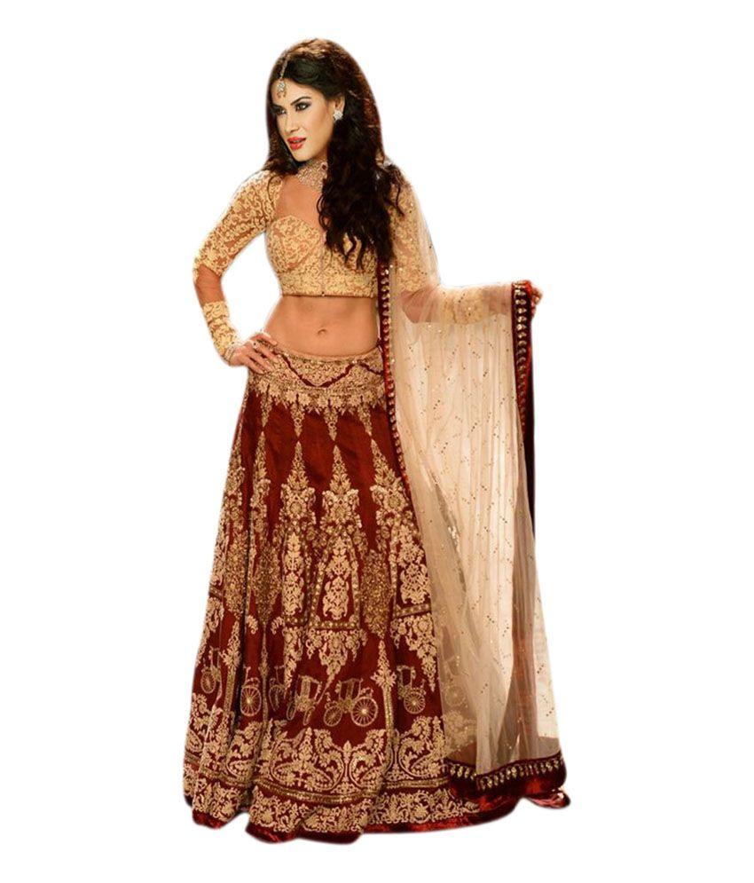 Krishna Enterprise Maroon Net Embroidered Lehenga Buy