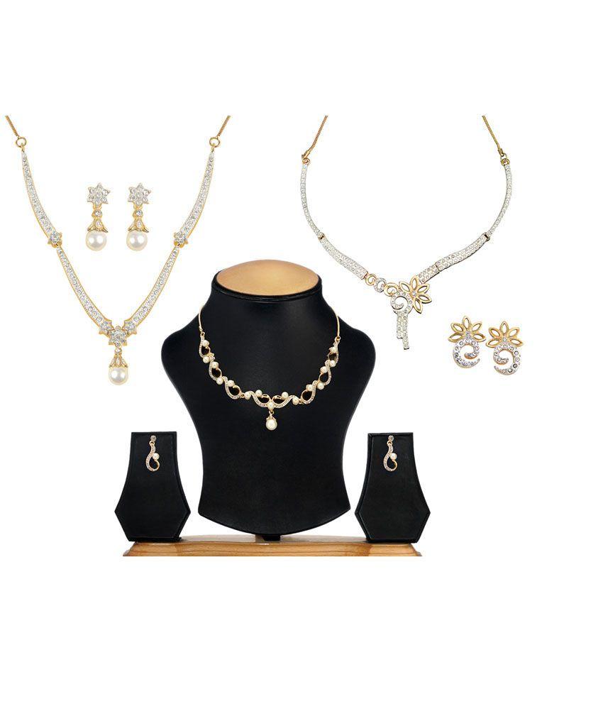 OLEVA Combo set of 3 Ladies Austrian Diamond Necklace Set OHD 33