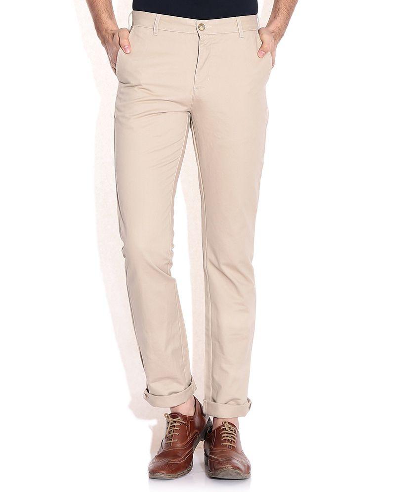 Parx Khaki Slim Fit Casual Trousers