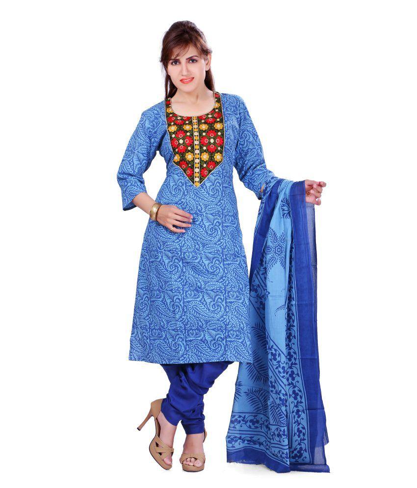 Colors Blue Embroidered Blended Salwar Suit