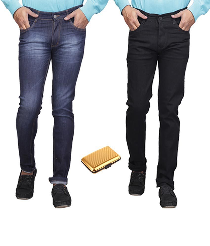 Q-nine Blue Stretchable Jeans With One Card Holder - Pack Of 2
