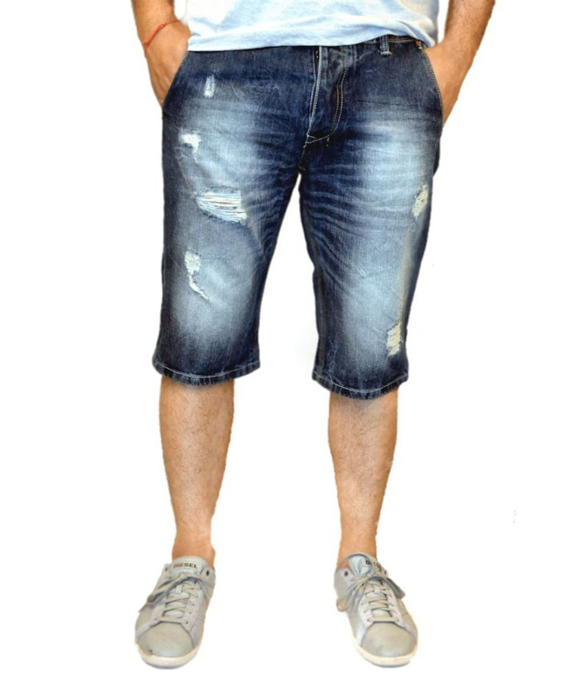 Blue Rugged Washed Men S Denim Shorts