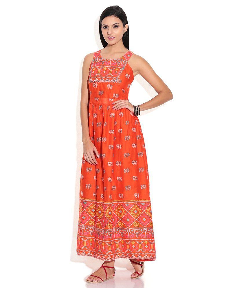 Global Desi Orange Cotton Maxi Dress - Buy Global Desi Orange ...