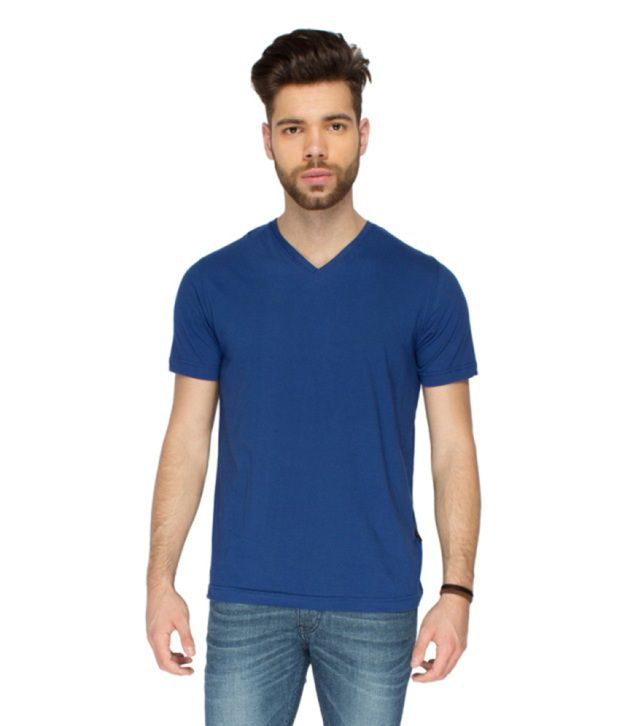 Identiti Blue Cotton V-neck