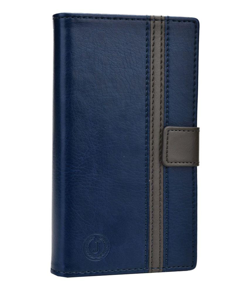 Jo Jo Pluto Series Leather Flip Cover for Micromax A87 Ninja 4 - Dark Blue and Grey