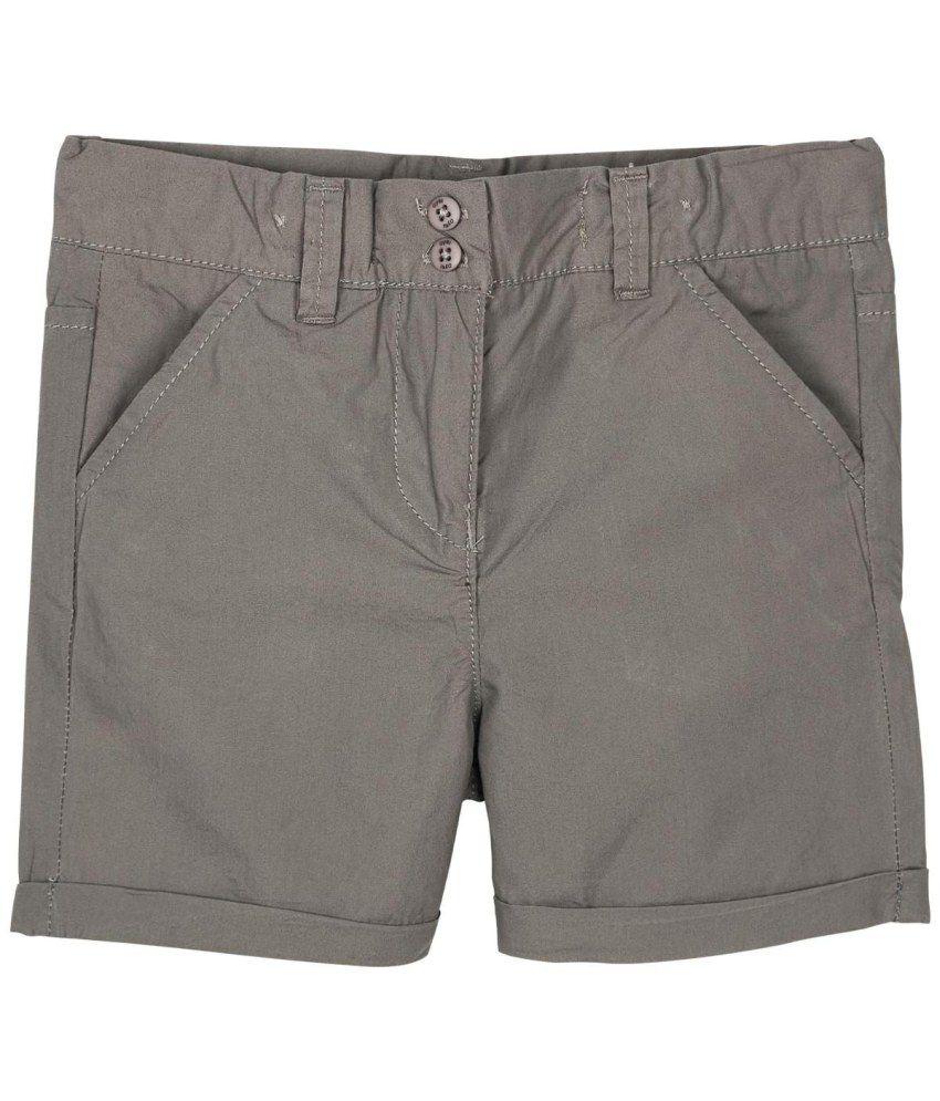 Oye Gray Cotton Fixed Shorts
