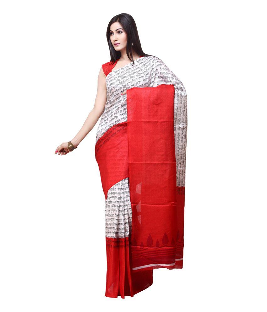 Rani Saahiba Red Bhagalpuri Silk Saree