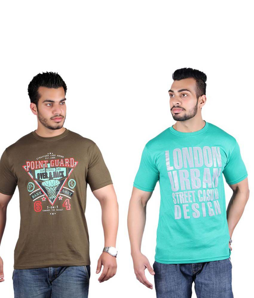 Shineway Cotton Printed Round Neck T Shirt Pack Of 2