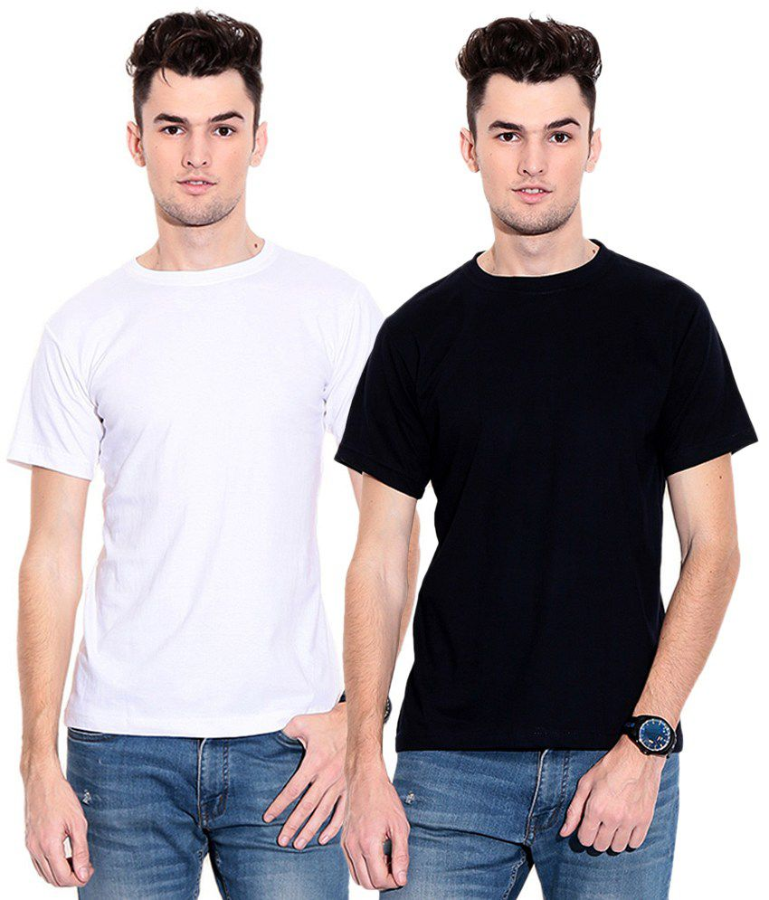 Styleava White Cotton T-Shirts (Pack of 2)