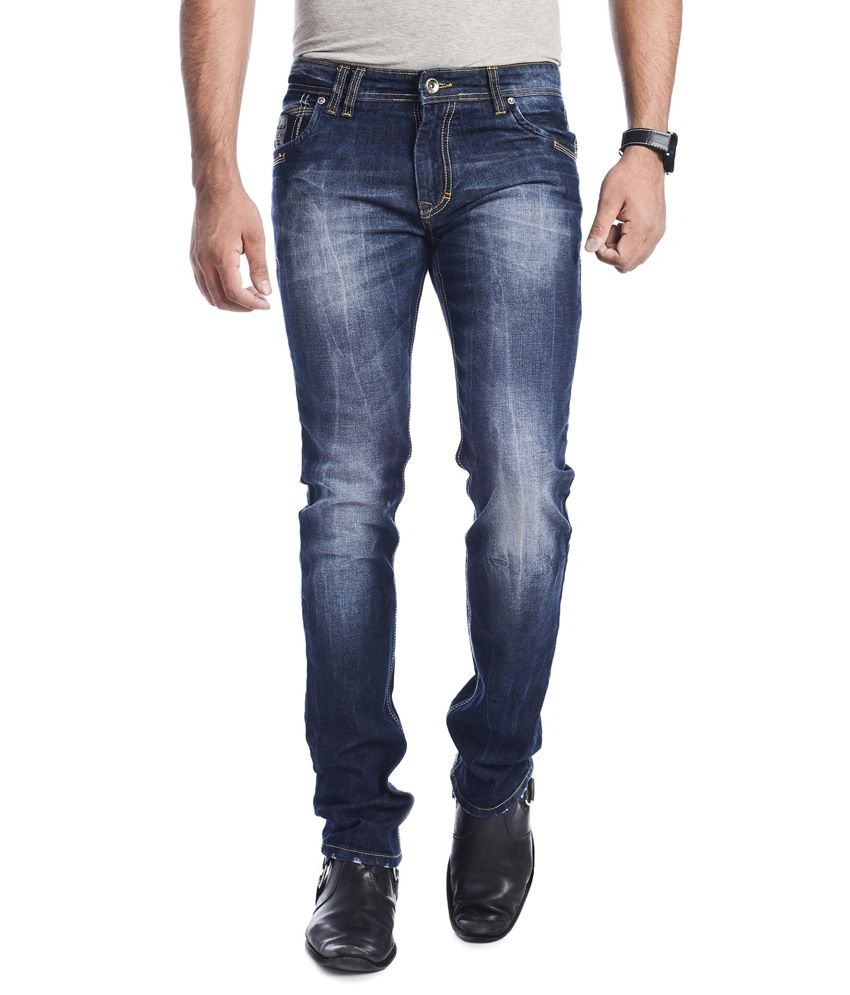 ADB Clothing Company Blue Cotton Blended Slim Fit Jeans