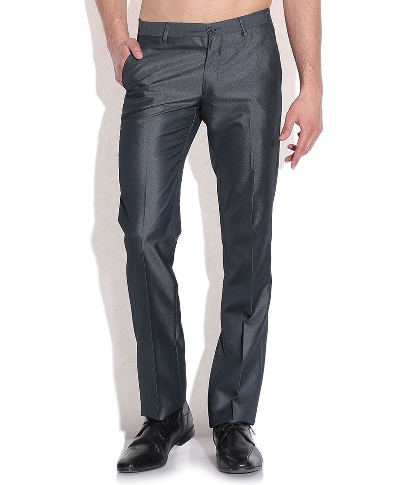 Arrow New York Gray Slim Fit Casual Trousers