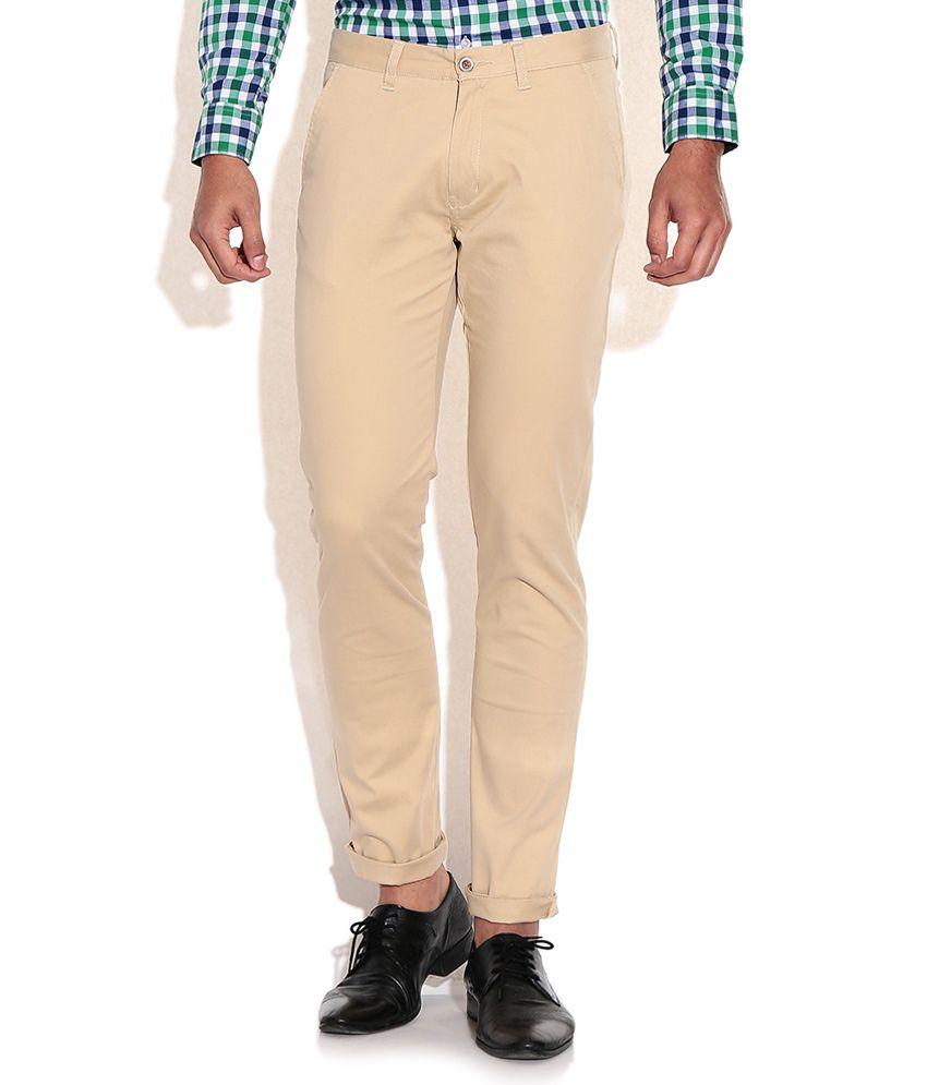 Arrow Sports Beige Slim Fit Casual Trousers