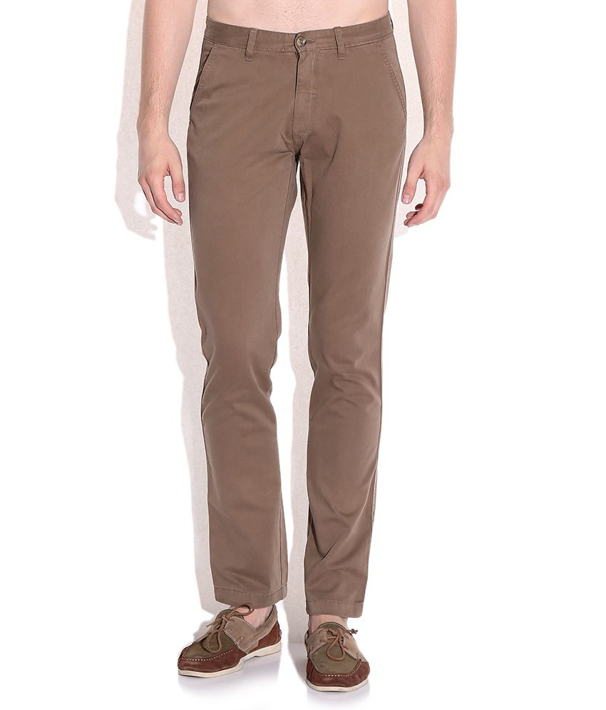Arrow Sports Brown Slim Fit Casual Trousers