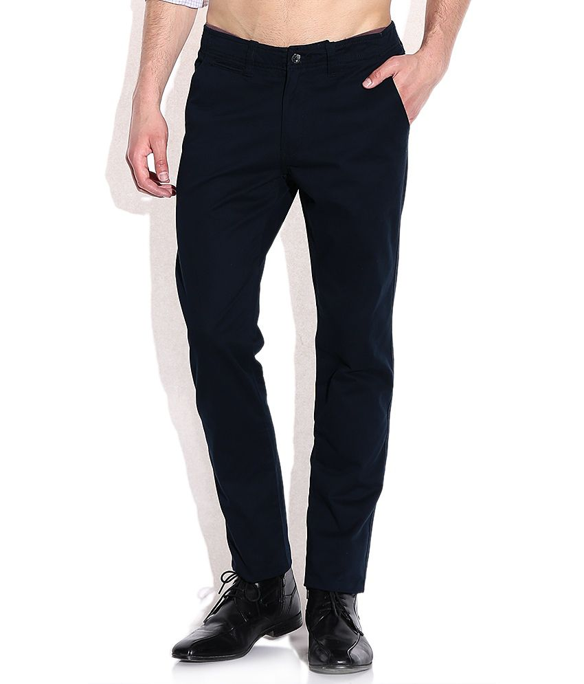 Arrow Sports Navy Slim Fit Casual Trousers