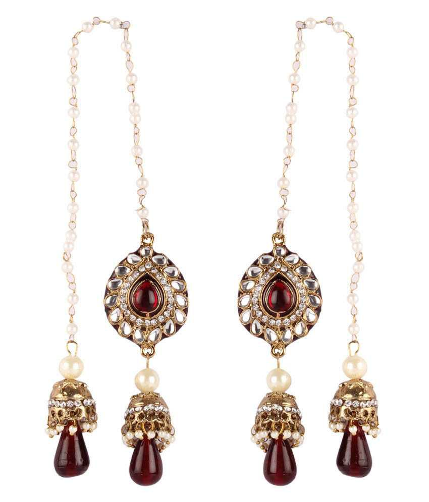 Gold & More Maroon & White Kashmiri Jhumka Earrings
