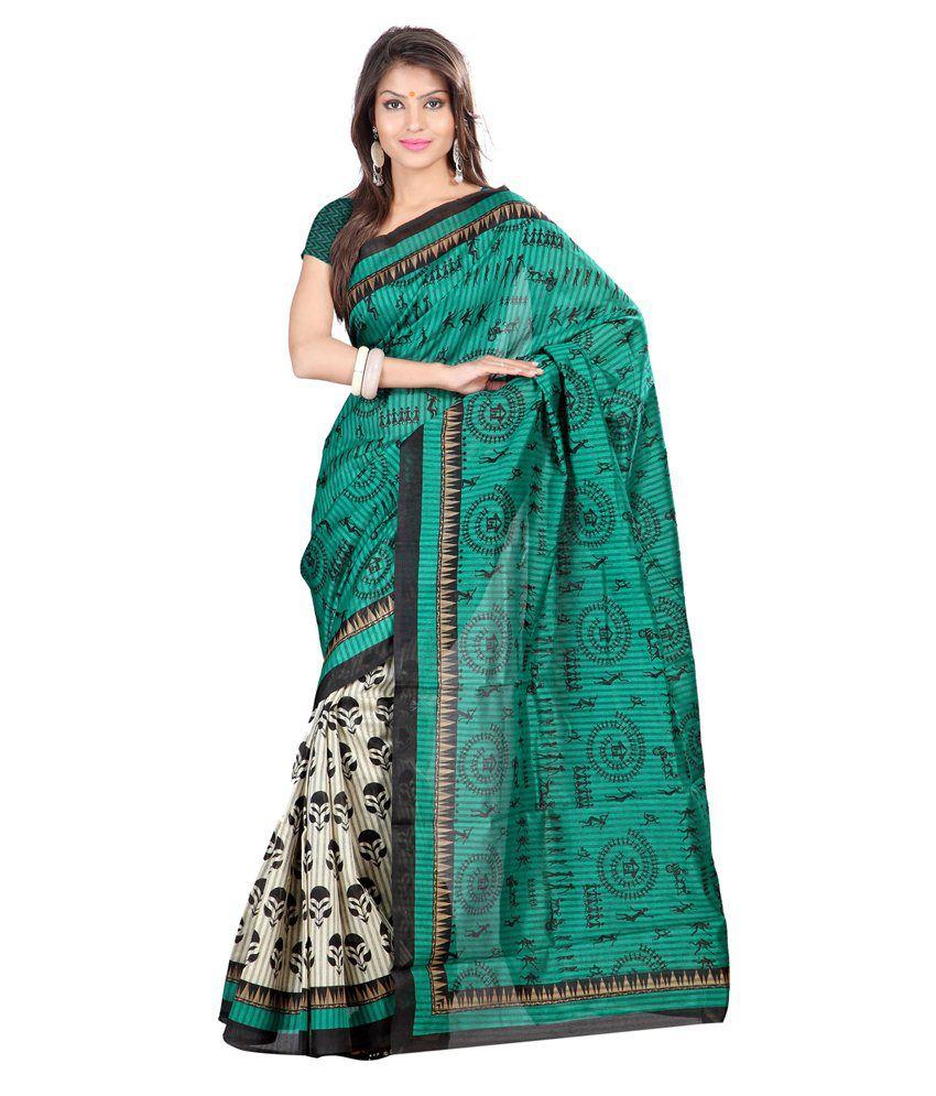 Lookslady Green Art Silk Saree
