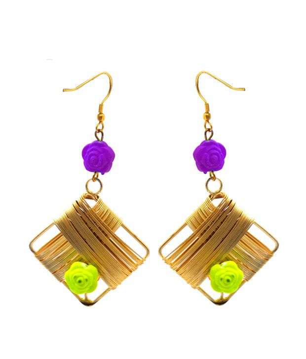 Rejuvenate Jewels  Gold And Multicolour Acrylic Gold Finish Drop Earring