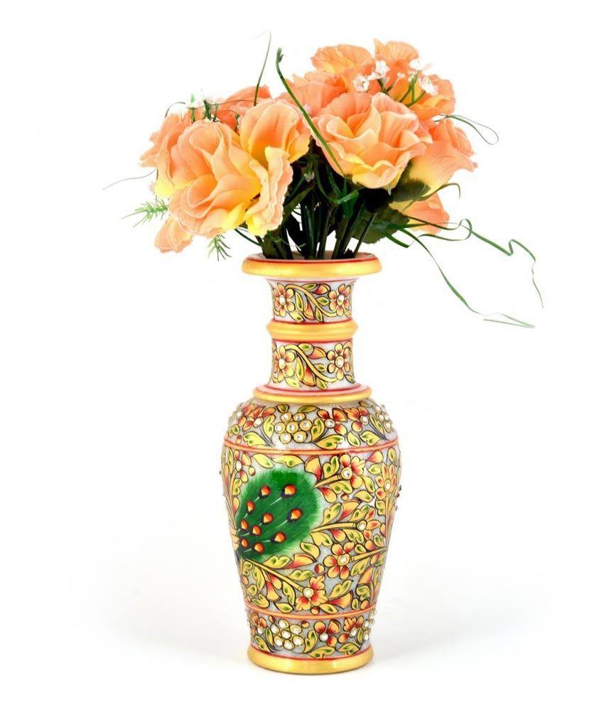 Jaipur Handicraft Jaipuri Golden Minakari Peacock Design Flower Vase