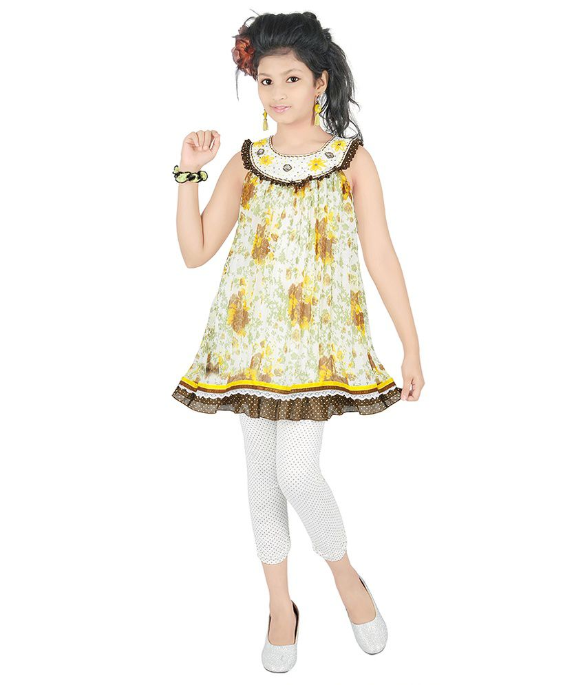0a1c2e70040c Justkids Yellow and White Frock and Leggings Set - Buy Justkids ...