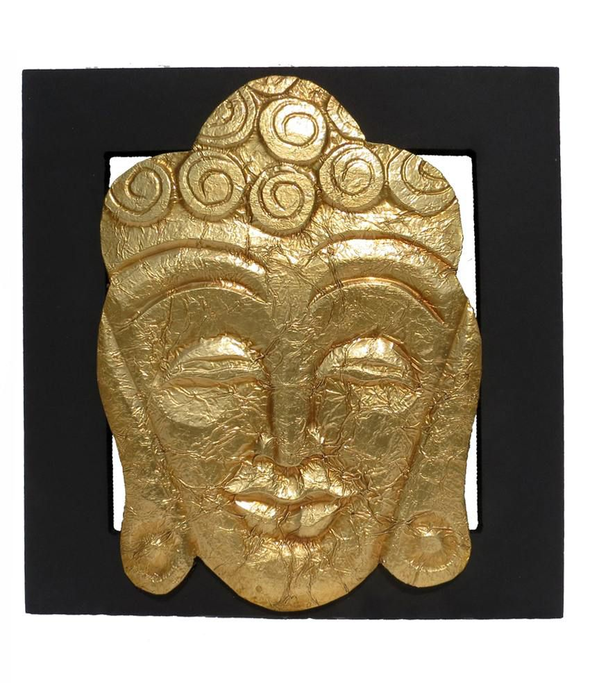 Pindia Wood Fancy Golden & BLack God Buddha Wall Hanging Showpiece
