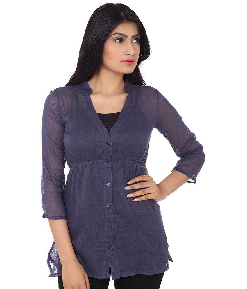 Tun Nel Mujer Navy Cotton Shirts