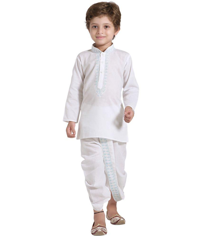 Shree Shubh White Cotton Ethnic Dhoti Kurta for Boys